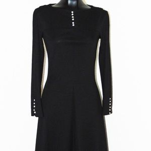 Vtg 60s Black Dress w/ Crystal Buttons in sz Small